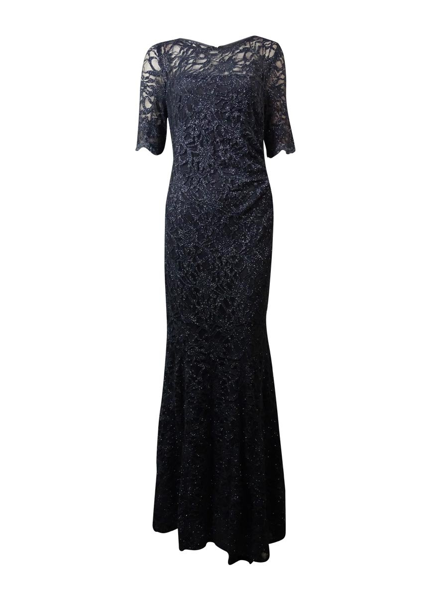 Xscape Steel Womens Laced Shimmer Ball Gown Dress Gray 12