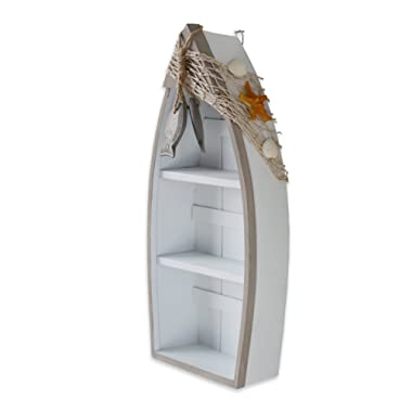 Wooden Boat Shelf, 16.5 H Standing Boat Display with Fish Net Starfish Seashell Accents White Beach Nautical Theme Decor