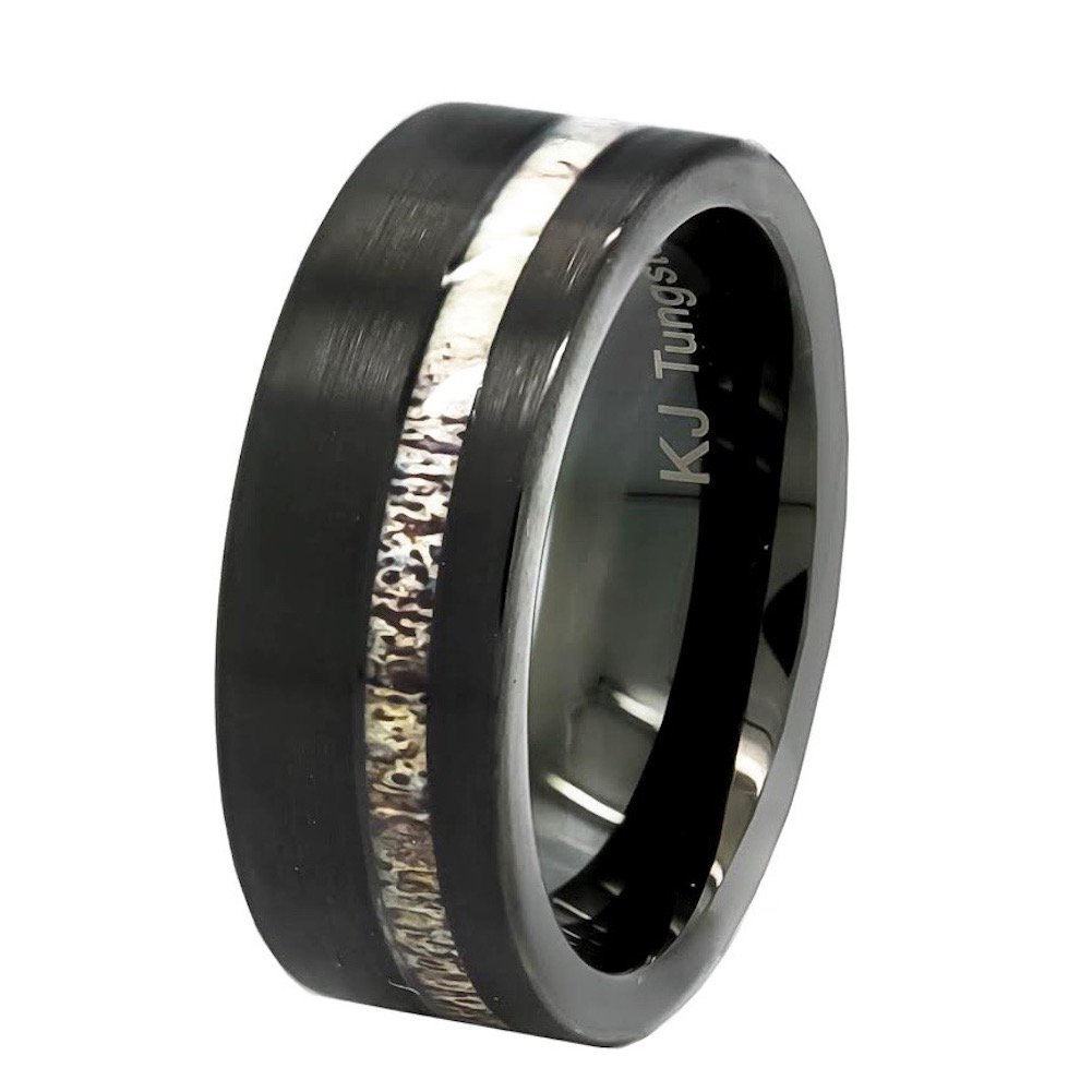 KingswayJewelry Black Tungsten Deer Antler Ring Mens Band Womens Wedding Ring Tungsten Hunter Band