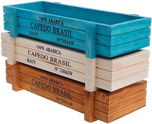 SUZHENA Maceta Maceta de jardín Maceta Decorativa suculenta Vintage Cajas de Madera Cajas Mesa Rectángulo, Blanco: Amazon.es: Jardín