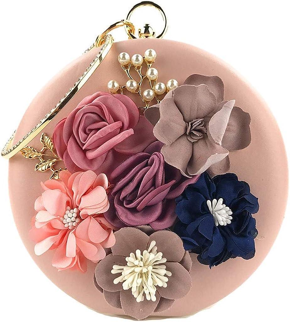 Luckycat Bolso de noche de flores para mujer Bolso de embrague retro con cuentas Bolso de embrague Bolso del banquete de boda Bolso bandolera con lentejuelas Tridimensional Flor de lentejuelas Redondo