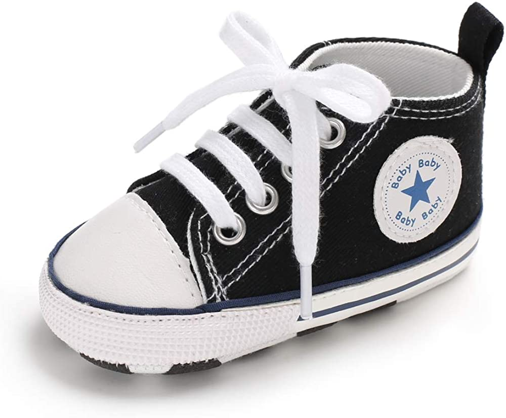 Newborn Girl Boy Soft Sole Crib Toddler Shoes Canvas Sneaker Unisex 0~10 Month