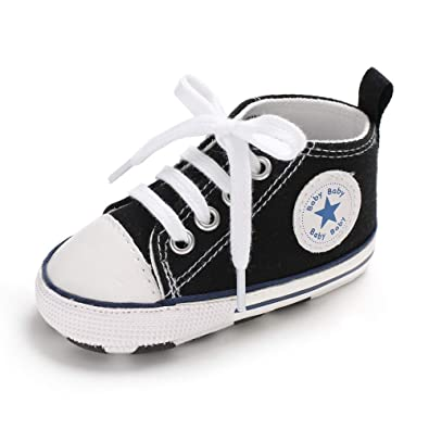 1786b209454c Baby Girls Boys Canvas Shoes Soft Sole Toddler First Walker Infant High-Top  Ankle Sneakers