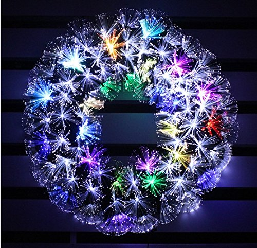 HOLIDAY STUFF Pre-lit Multi Color LED Fiber Optic Christmas Wreath/Warm White and Color Changing (16in, White + Multi Colore) (Wreaths Sale Christmas White For)