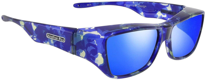 1e9832f6784 Amazon.com  Jonathan Paul Fitovers Neera Large Polarized Over Sunglasses    Blue-Blast   Polarvue Blue Mirror  Clothing