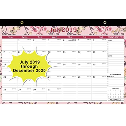 July Calendar For 2020.Amazon Com Desk Calendar 2019 2020 Desk Calendar July 2019 2020