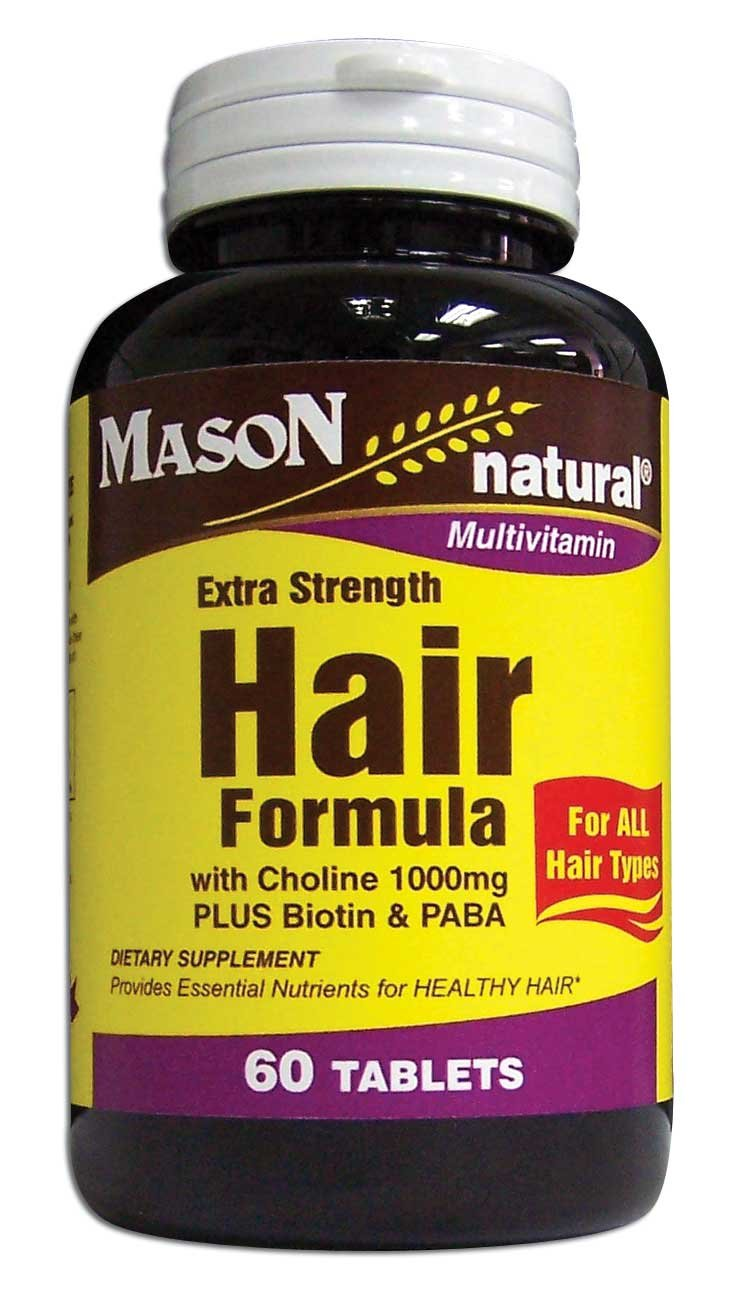 3 Pack Special of MASON NATURAL EXTRA STRENGTH HAIR VITAMIN TABLETS 60 per bottle