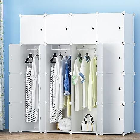 Guardaroba In Plastica.Diy Guardaroba Di Plastica Armadio Portatile Storage Con Adesivo Progettare Il Proprio 16 Cubi Con 3 Grucce