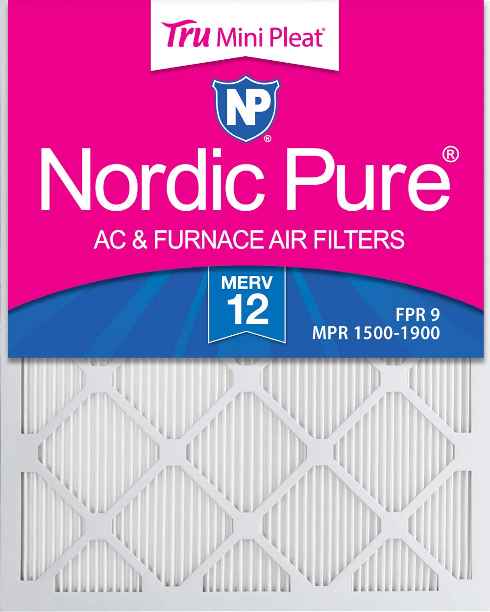 Nordic Pure 16x24x1 MERV 12 Tru Mini Pleat AC Furnace Air Filters 4 Pack