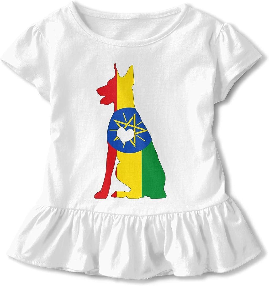 26NSHIRT Ethiopia Flag Adore Dobermans Dog Toddler Girls Short Sleeve Graphic T-Shirt