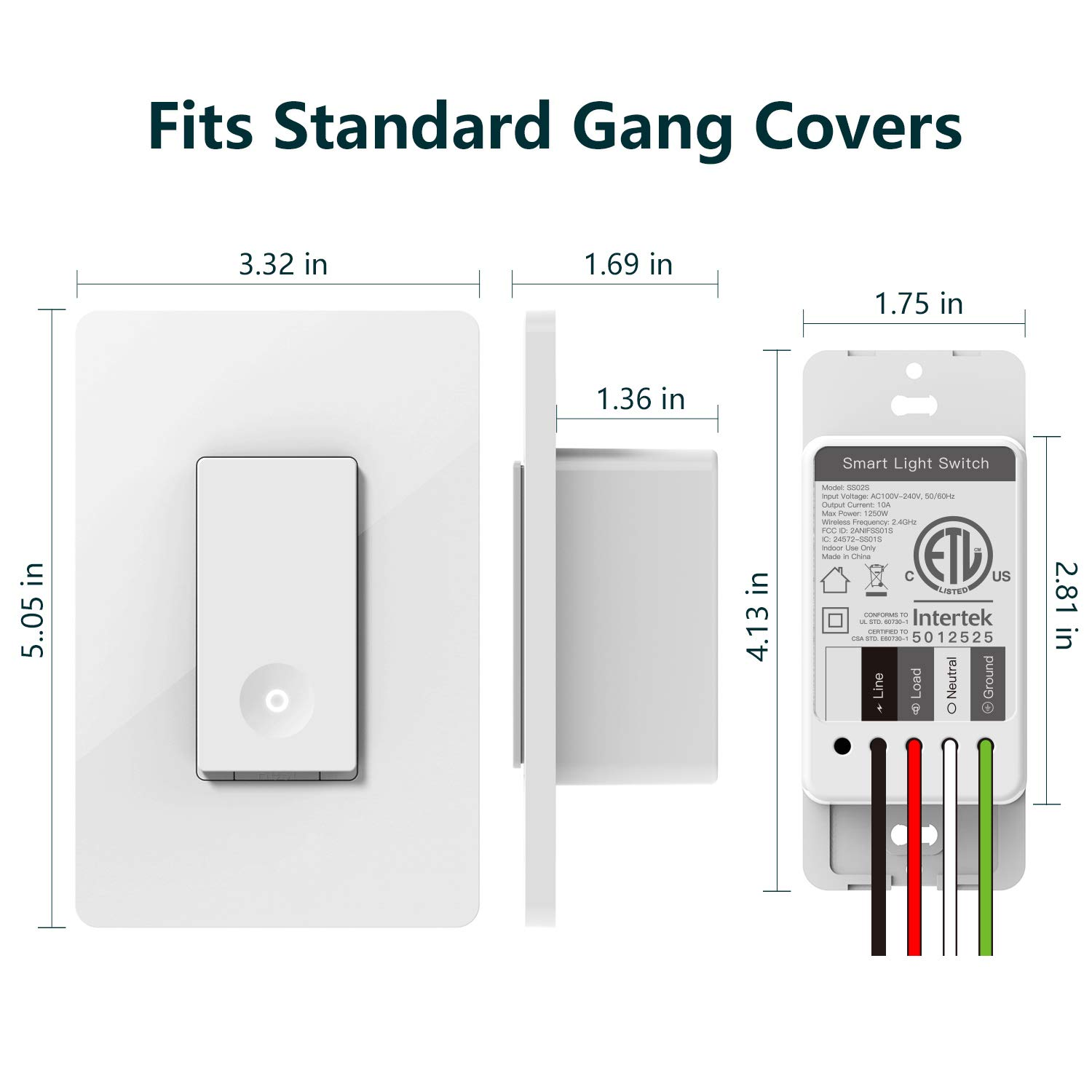 Dimensions of the Laghten Smart Wifi Light Switch