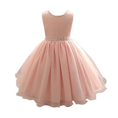 ??Elecenty Mädchen Prinzessin Kleid,Spitzenkleid Baby Solide Mesh Babykleidung Festzug Ballkleid Kleider Ärmellos Tüllkleid P