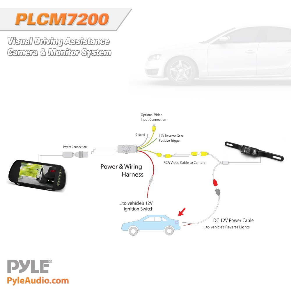 Pyle Backup Car Camera & Rear View Mirror Monitor Screen System-Parking & Reverse Safety Distance Scale Lines, Waterproof & Night Vision Cam with IR LED Lights, 7'' LCD Display for Vehicles-(PLCM7200) by Pyle (Image #3)