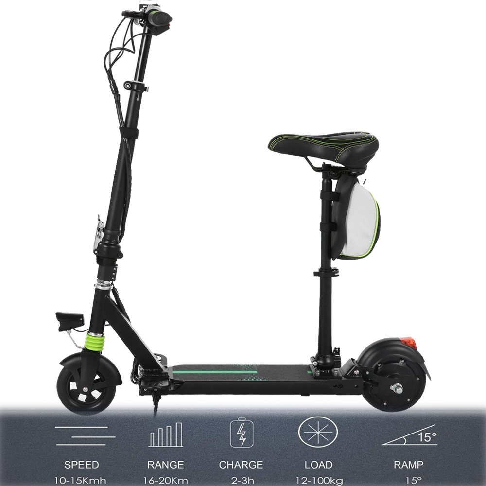 Dtemple 24 V Seated Electric Scooters Foldable E Scooter with Adjustable Height,High-Speed Motor, High-End Battery and LED Headlamp(US Stock)