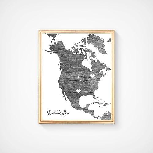 Amazon com: North America Custom Map Art Print - Wedding