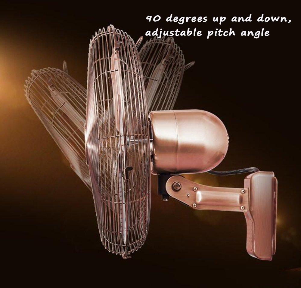 Fans CivilWea 16-Zoll-Ventilator//Klassische Wand-Ventilator//Wohnzimmer Wand-Energiesparventilator//kommerzielle Metallventilator//DREI verstellbare europ/äischen Stil Sch/üttelkopf Luftvolumen Fan