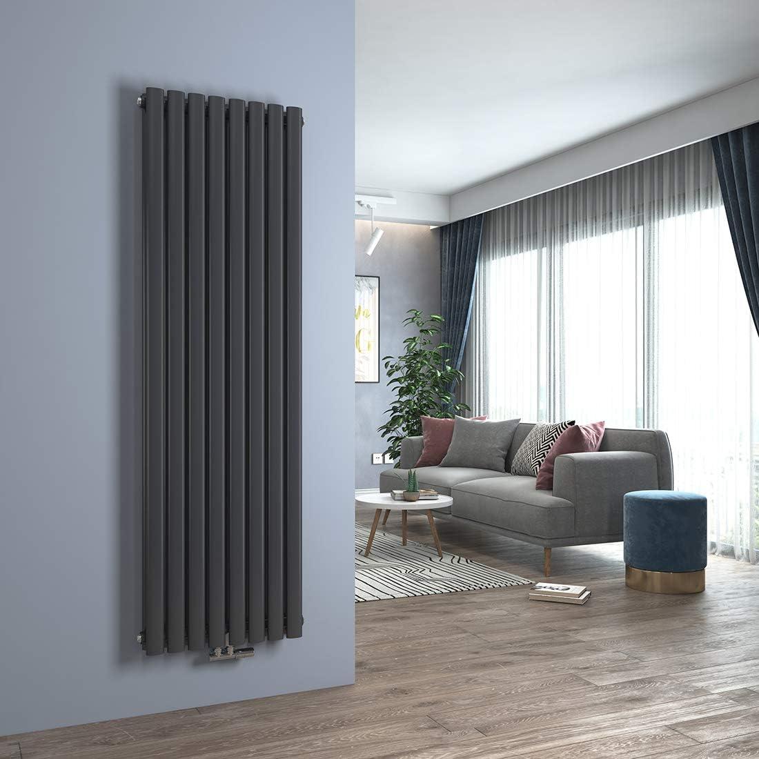 Design Heizk/örper Anthrazit Oval Paneelheizk/örper 600 x 1180 mm Heizung Seitenanschluss Doppellagig Wohnzimmer//Badezimmer Heizk/örper Horizontal