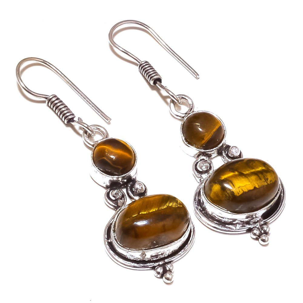 Gift Jewelry Brown Tiger Eye Sterling Silver Overlay 10 Grams Earring 2 Long