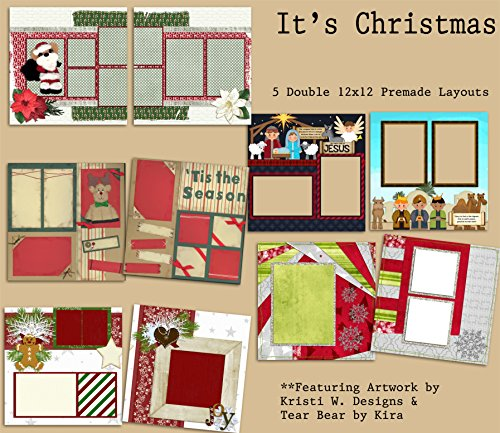 It's Christmas Scrapbook Set - 5 Double Page Layouts