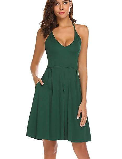 6f98e7c6c70a7 Halife Women's Sexy V Neck Spaghetti Strap Summer Dress Sleeveless Backless  Party Dresses with Pocket