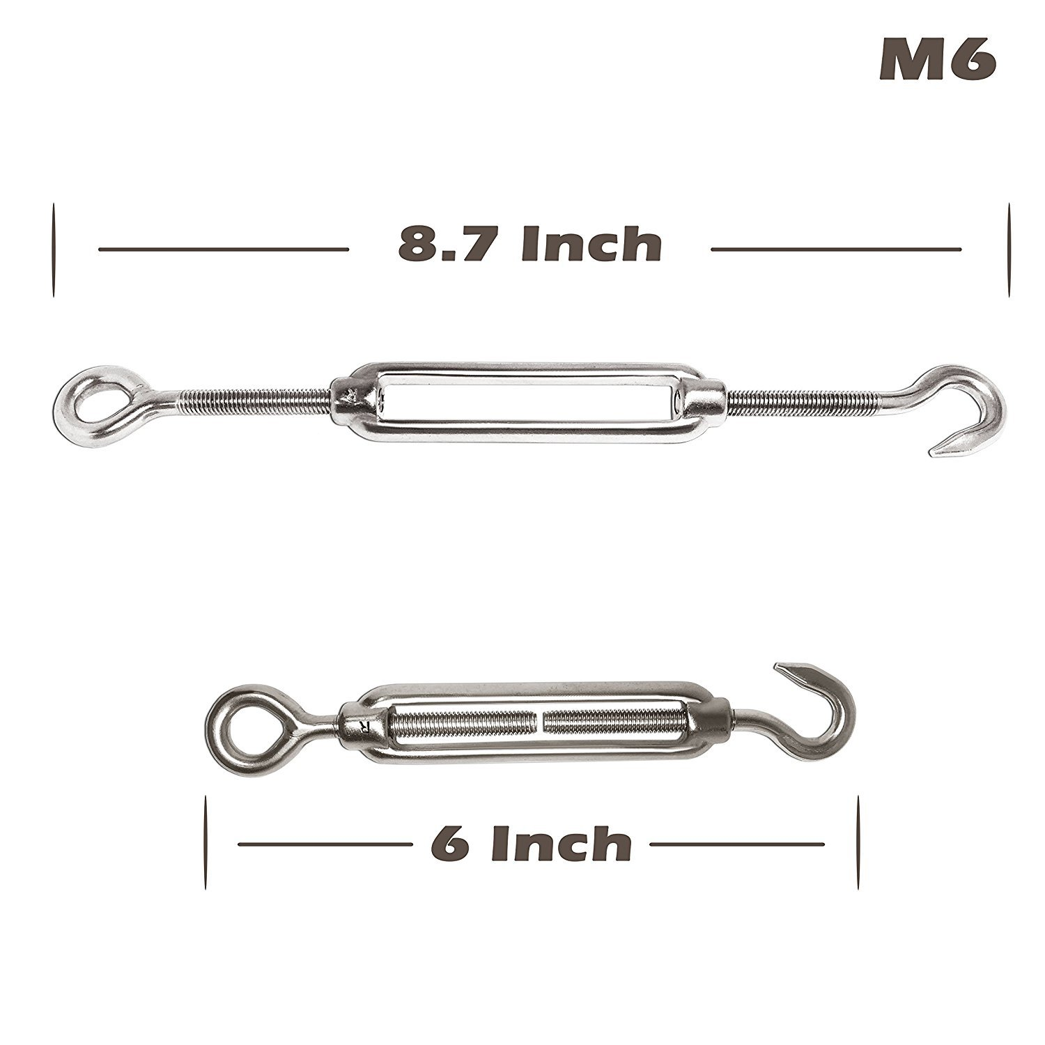 SNOWINSPRING 4-Pcs Turnbuckle//Tension M3 M3 Stainless Steel Kit 16-Pcs 1//8 Inch Wire Rope Cable Clip//Clamp Eye/&Hook, M6 8-Pcs Thimble