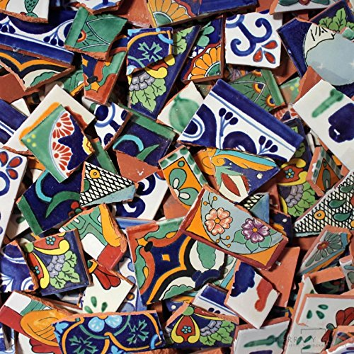 Broken Talavera Mexican Tile in Mixed Desings Tiles, 12 Pounds