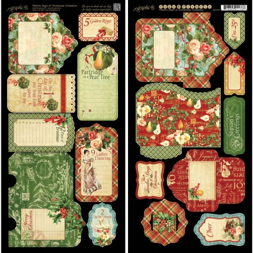 (Graphic 45 12 Days of Christmas Tags and Pockets Card Stock Sheets)