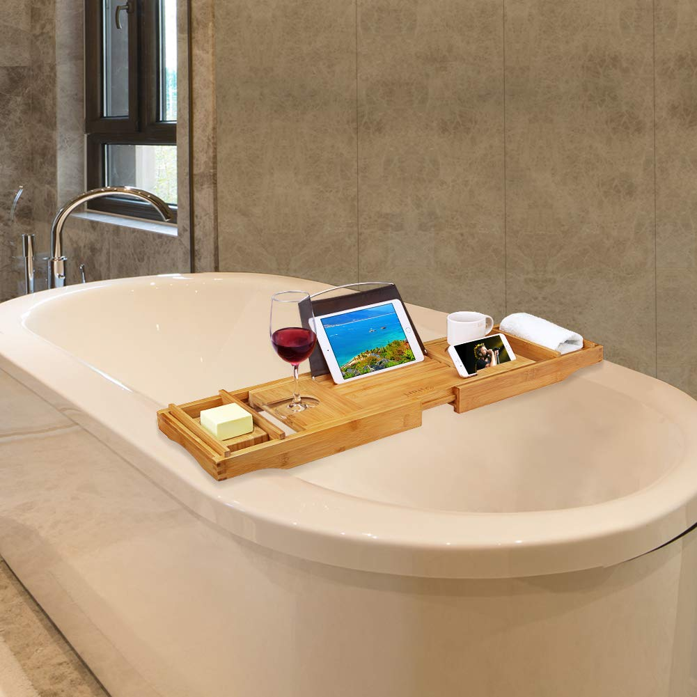 Cellphone iPad Tray and Wineglass Holder,Free Soap Holder Cellphone iPad Tray and Wineglass Holder/,Free Soap Holder HB-life Bamboo Bathtub Caddy Tray with Extending Sides
