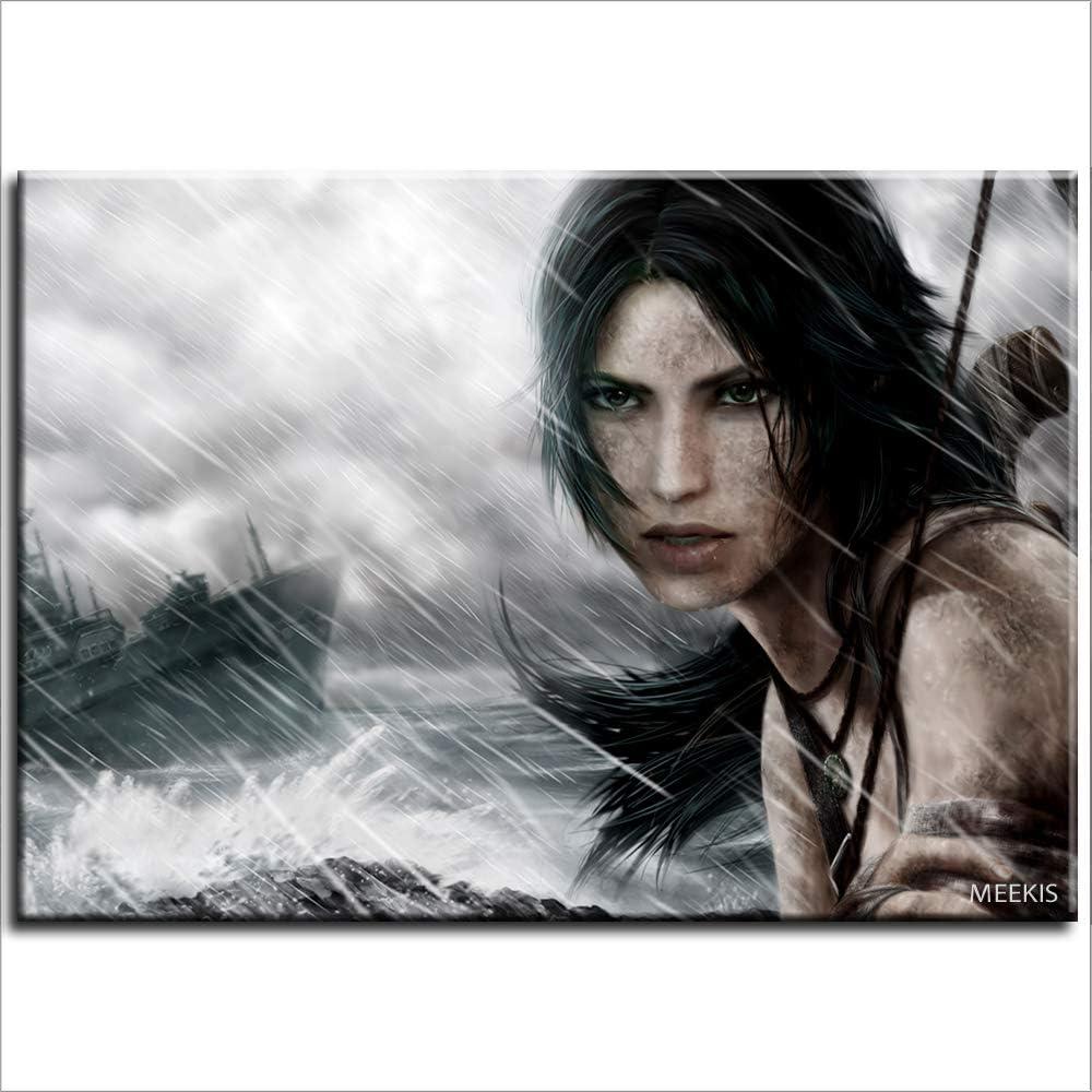 SDFGS Pintura digital de barco arquero tumba raider cola de caballo belleza pintura 3D DIY pintura digital 40X50 (sin marco)