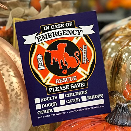 PET FIRE Rescue Trademarked Safety Alert Emergency Pet Dog Cat 4'' x 5'' Behind The Glass Front Surface Window Decal Cling Sticker (Qty. 4 Behind Glass) by TLC Safety By Design (Image #3)