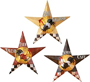 Rooster Barn Stars Wall Decor - Set of 3