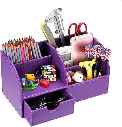 BTSKY Organizador de Escritorio de Piel Sintética Multifuncional Caja de Escribanía Mesa con 7 Compartimientos para Oficina Hogar , Color Morado: Amazon.es: Bricolaje y herramientas