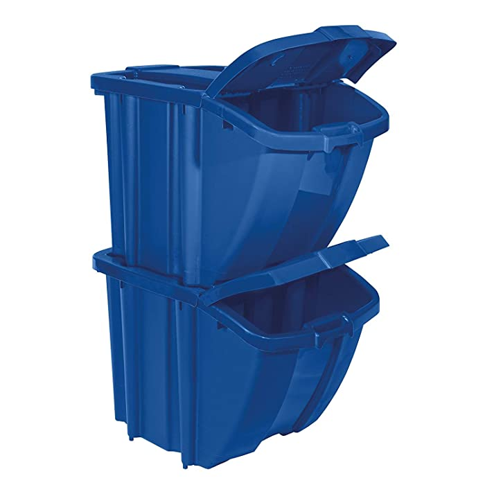 Suncast Kit Stackable Organizer Stores Recyclables, Tools and Toys Bin with Front Flap Ideal for Dry Storage, Blue