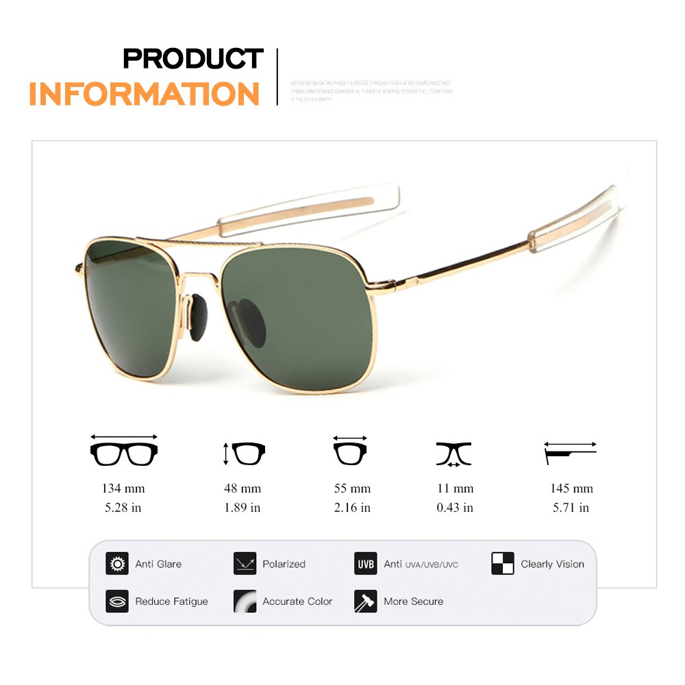 WPF Retro Polarized Sunglasses Aviator Sun Glasses for Men (As Picture, Gold Frame Deep Green Lens)