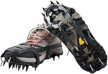 1 par 18 Acero Studs Hielo Tacos para Botas de Grips de tracción crampones Cadena Spike Grippers Escalonado para Senderismo Escalada Nieve montañismo ...