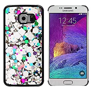 Impact Case Cover with Art Pattern Designs FOR Samsung Galaxy S6 EDGE Abstract Teal Glitter White Purple Betty shop