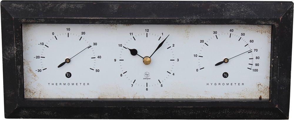 温湿度計付き Antique Clock 置き掛け兼用 ヨコ ブラウン YT-901 B075V1559W