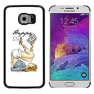 LECELL--Funda protectora / Cubierta / Piel For Samsung Galaxy S6 EDGE SM-G925 -- 5'Th Birthday Girl White Fashion --
