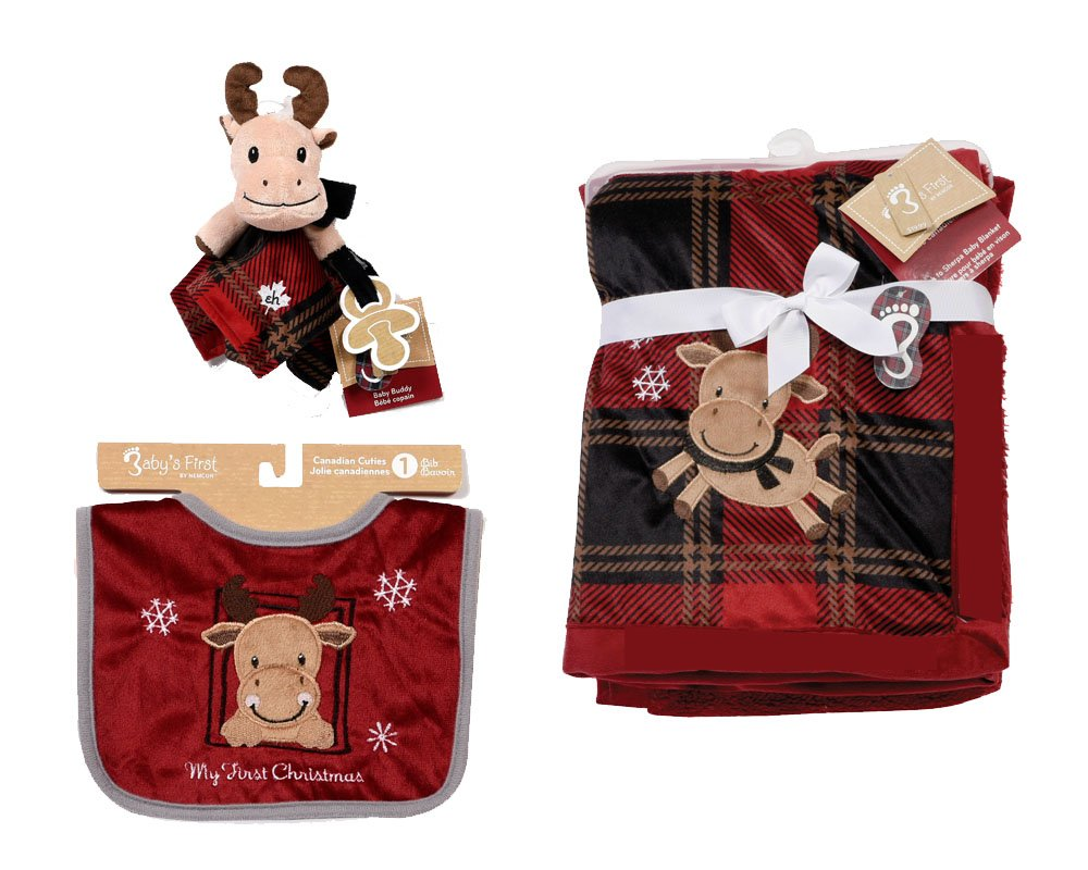 Baby's First by Nemcor 3 Piece Infant Christmas Gift Set Moose 32341-3PC-XMAS-MOSE