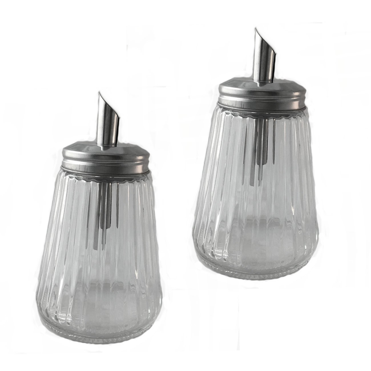 9 oz Glass Sugar Shaker Pourer Restaurant And Diner Style Bottle (Pack of 2)