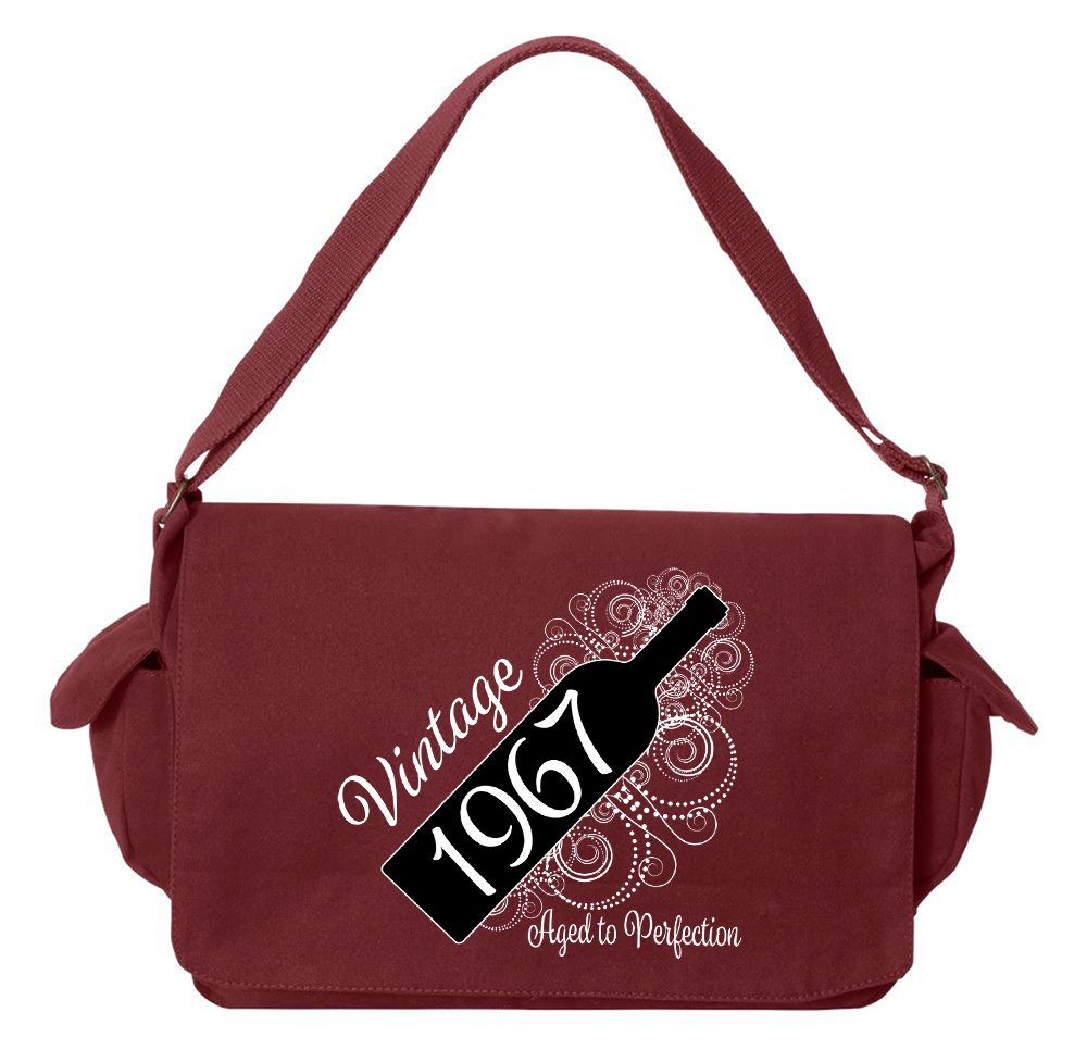 Tenacitee Born in 1967 - Aged Like a Fine Wine Maroon Brushed Canvas Messenger Bag