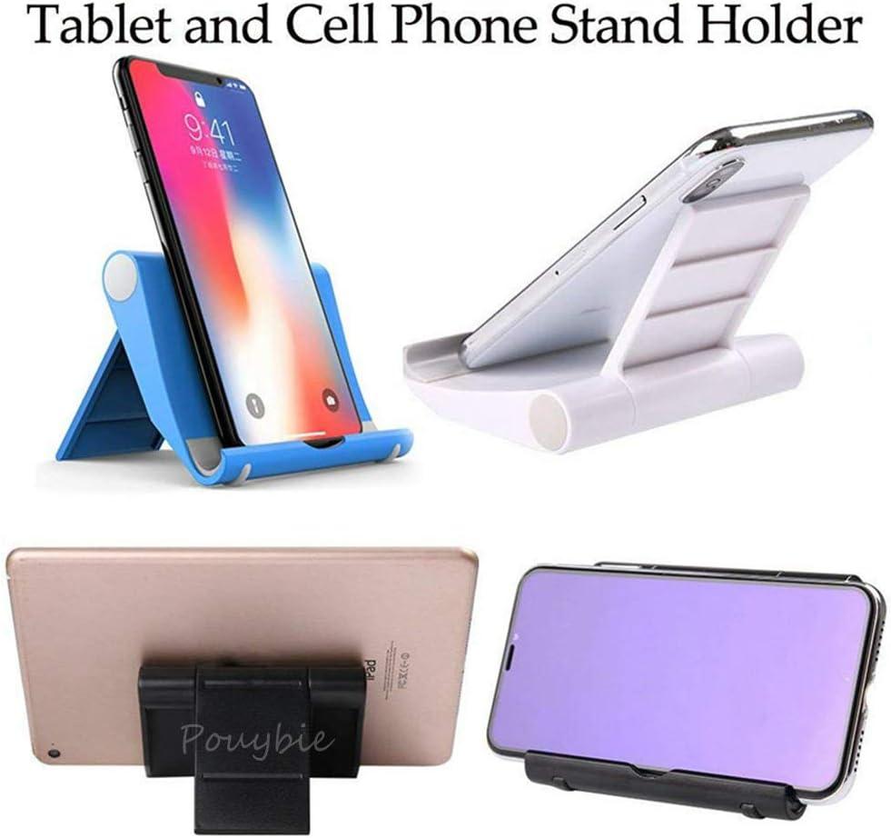 Pouybie Support Plat Universel Pliable Support pour t/él/éphone Portable Multifonction Rotatif Base MP5 Tablette Ordinateur Support Accessoires Blanc