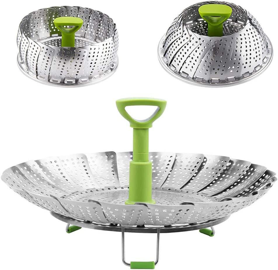 """Vegetable Steamer Basket, Stainless Steel Folding Steamer with Extending Removable Center Handle Insert for Veggie Seafood Cooking to Fit Various Size Pot (6.4"""" to 10"""")"""