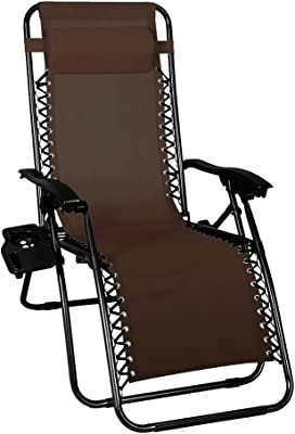 Odaof Zero Gravity Chair Recliner Outdoor Patio Lounge Chair W/Cup Holder, Brown
