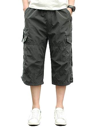 ad818b639bc320 Homme Shorts Cargo Pantacourt Coton Multi Poches Loisirs 3/4 Short Casual  Eté