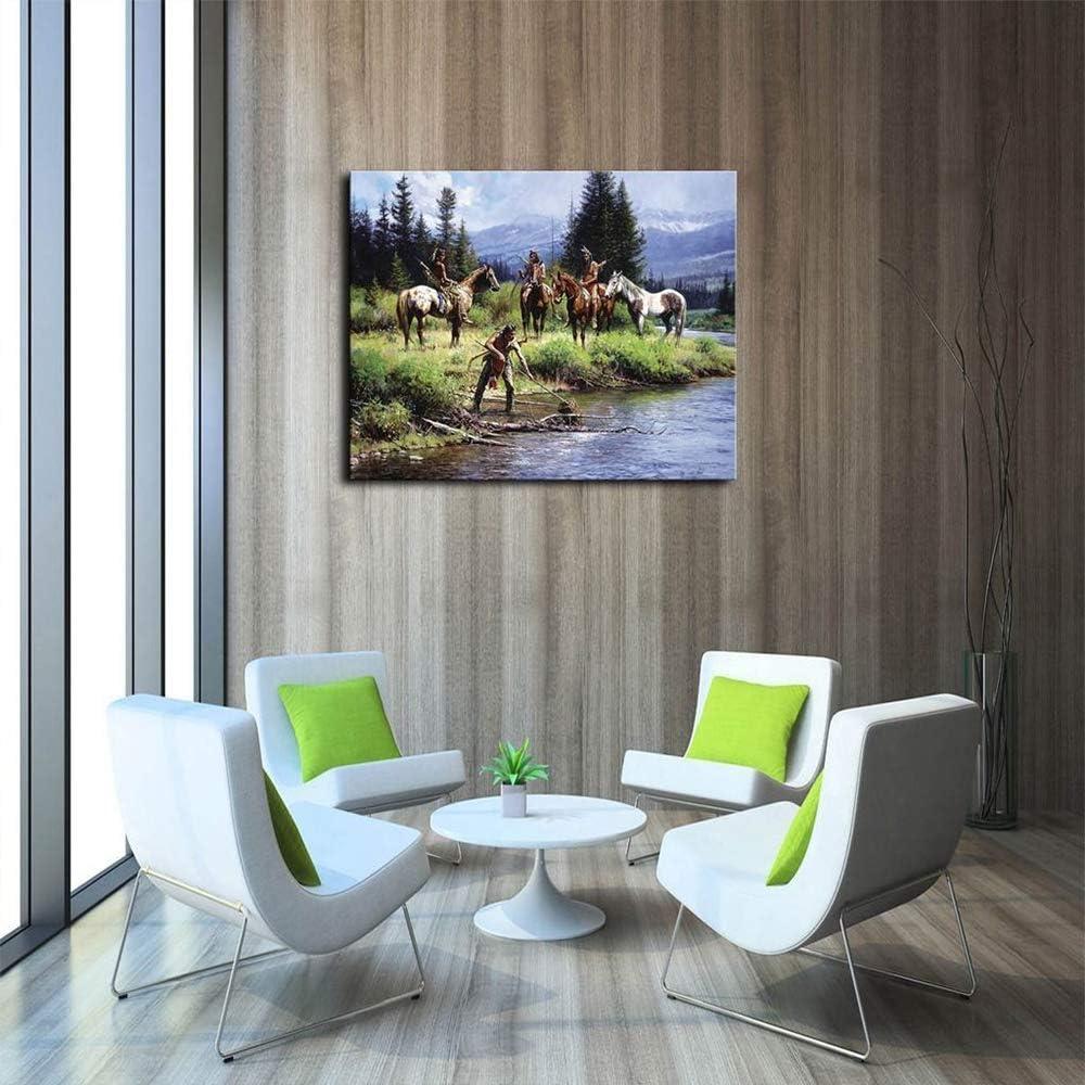 tzxdbh Impresión en Lienzo Pintura al óleo Indios y un río Imagen ...
