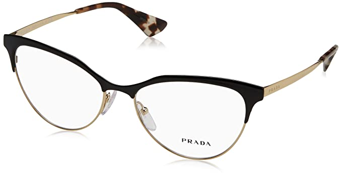 7e396fdb1c good prada pr 55sv glasses in black pale gold pr 55sv qe31o1 52 52 clear  amazon