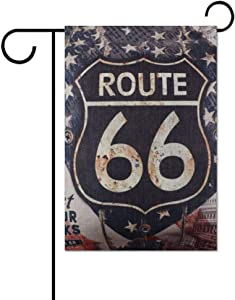 "Invinciblefrme Vintage Wood Rusted Look USA American National Flag Route 66 for Man Garden Flag, Decorative Double Sided Garden Flags for Outside Lawn Outdoor Home Decor Gift 12.5"" X 18"" Inch"