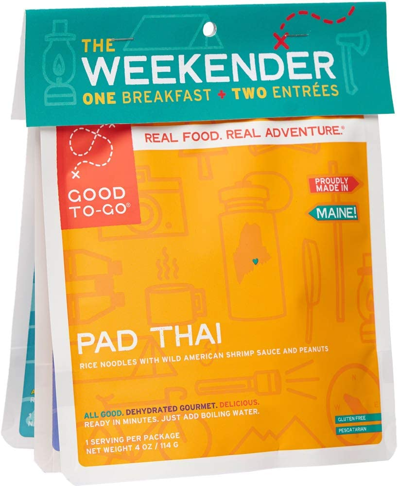 GOOD TO-GO Weekender 3-Pack | 2 Entrees + 1 Breakfast | Thai Curry, Granola, Mexican Quinoa Bowl | Dehydrated Backpacking and Camping Food | Gift Ideas | Easy to Prepare