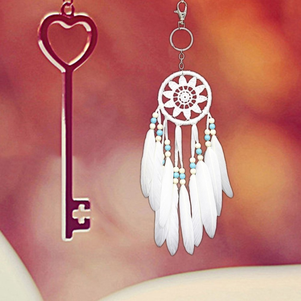 Autumn Water Retro White Dreamcatcher Mini Indian Style Feather Pendant Dream Catcher Wind Chimes Car Wall Hanging Decoration Gift